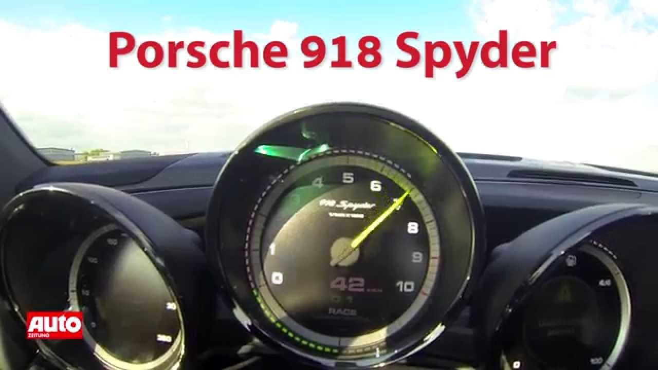 porsche 918 spyder tacho video 0 300 km h youtube. Black Bedroom Furniture Sets. Home Design Ideas
