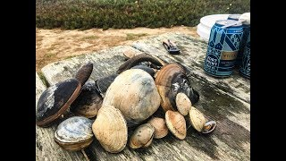 Foraging for clams and eating clam SASHIMI clam chowder
