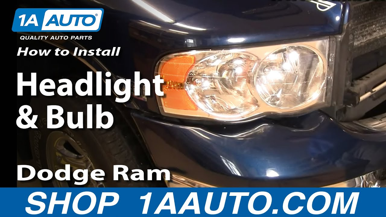 How To Install Repair Replace Headlight And Bulb Dodge Ram 02 06 Door Wiring Fix 1aautocom Youtube