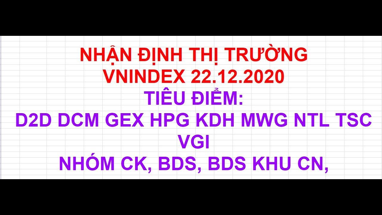 NHẬN ĐỊNH THỊ TRƯỜNG 22.12.2020. TIÊU ĐIỂM D2D DCM GEX HPG KDH MWG NTL TSC VGI