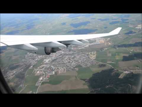 Lufthansa Airbus A340 landing at Munich Airport