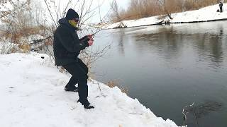 Рыбалка зимой на спиннинг 2020. Река Зай. Окунь на отводной поводок. Забагрил щурёнка!
