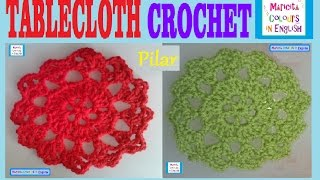 "Crochet In English Lace Motif Tablecloth ""pilar"" (part 1) By Maricita Colours"