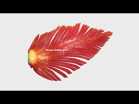 Red Capsicum Bell Pepper Simple Leaf - Beginners Lesson 207 - Mutita Art Of Fruit & Vegetable Carvin - 동영상