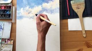Рисуем акварелью: горы, облака