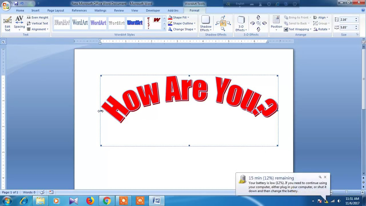 How can i curve my sentence in microsoft word?