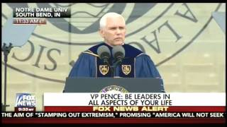 During Notre Dame commencement, VP Mike Pence slams intolerance for free speech on college campuses