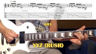 YYZ (Rush) GUITAR LESSON with TAB - MAIN RIFF
