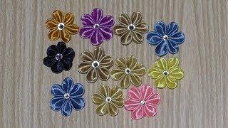 как сделать заколку цветок из ленты