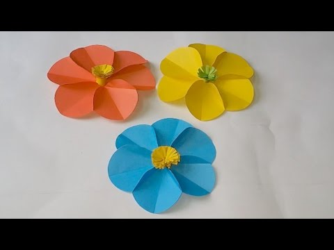How to make a 6 circle Paper flower ?  Very Easy Way !!