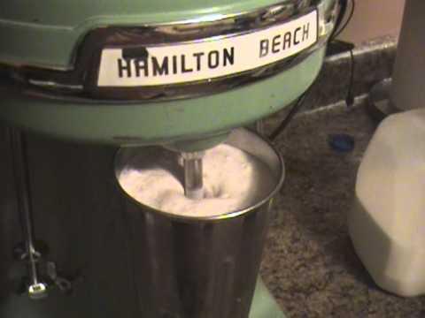 Making A Milkshake Using A 1950's Hamilton Beach 40DM Triplehead Blender