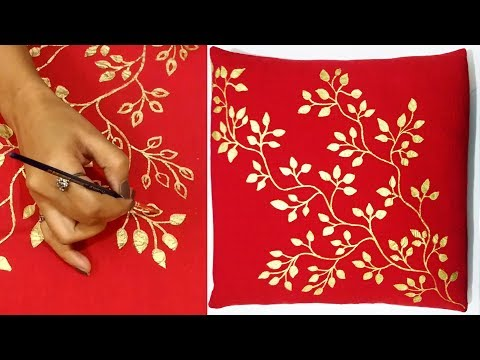 DIY : Easy Hand Painting Technique to make Designer Cushion Cover | Home Decor