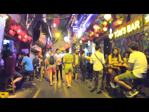 The Crazy Nightlife Street Scene in Hanoi, Vietnam