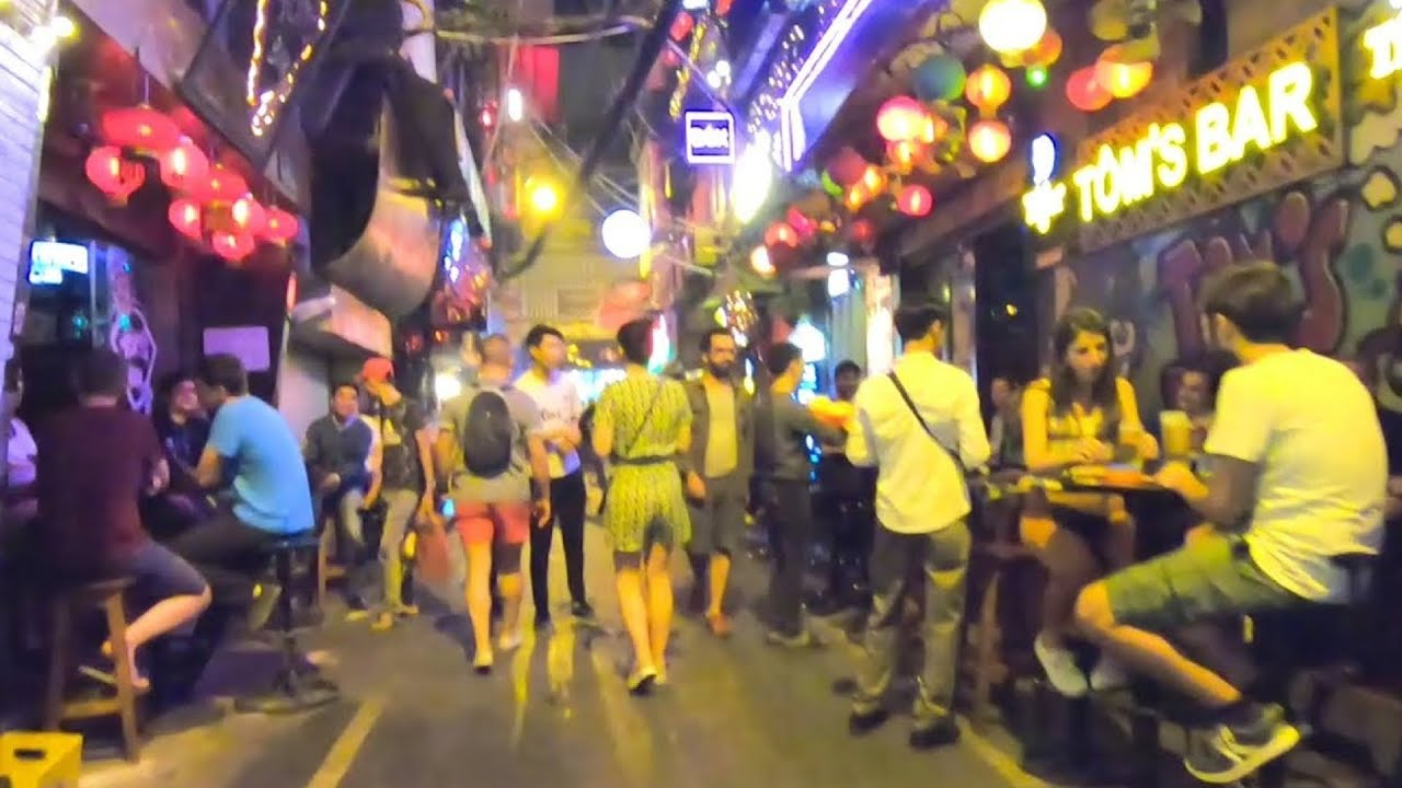 The Crazy Nightlife Street Scene In Hanoi Vietnam Youtube