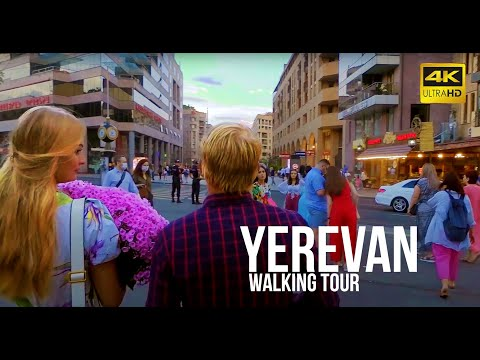 Walking tour in Yerevan Streets; Cascade complex to Republic Square. 4K 60fps