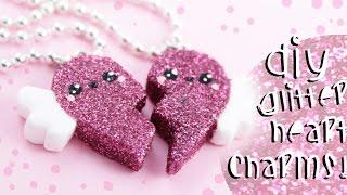 ♡ DIY GLITTER BFF Heart Charms!! - In Polymer Clay ♡ | Kawaii Friday thumbnail