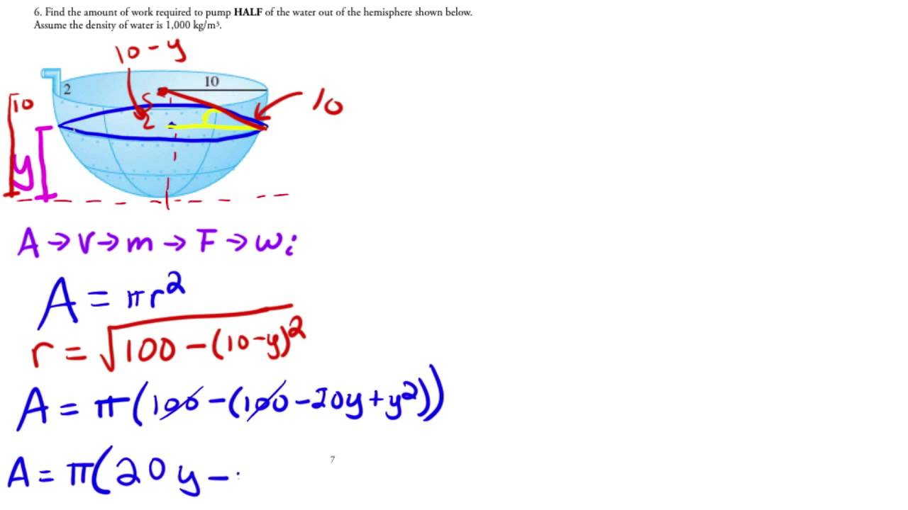 Calculus  Applications Of Integration  Work Pump Water Out Of Hemisphere