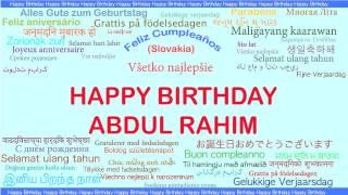 AbdulRahim   Languages Idiomas - Happy Birthday