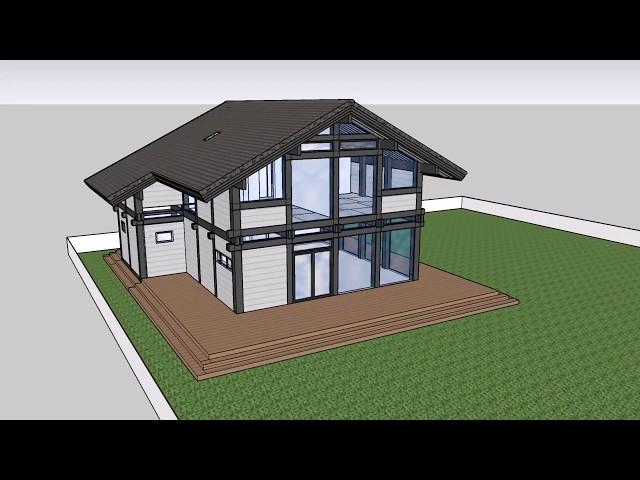 3D модель SketcUp фахверк 2 этажа 206 кв.м с котельной и террасой Выпуск # 63