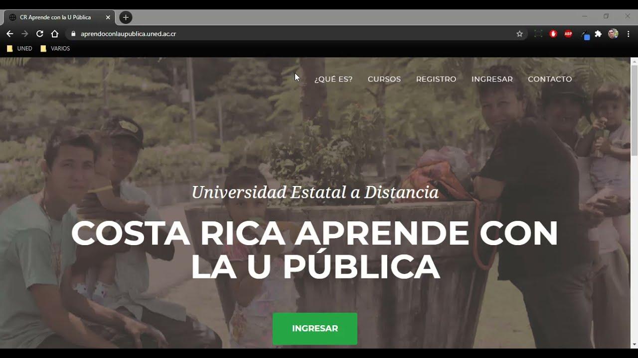 Cr Aprende Con La U Publica Uned Cursos Gratuitos Y Virtuales Ingresar Registrarse E Inscribirse Youtube