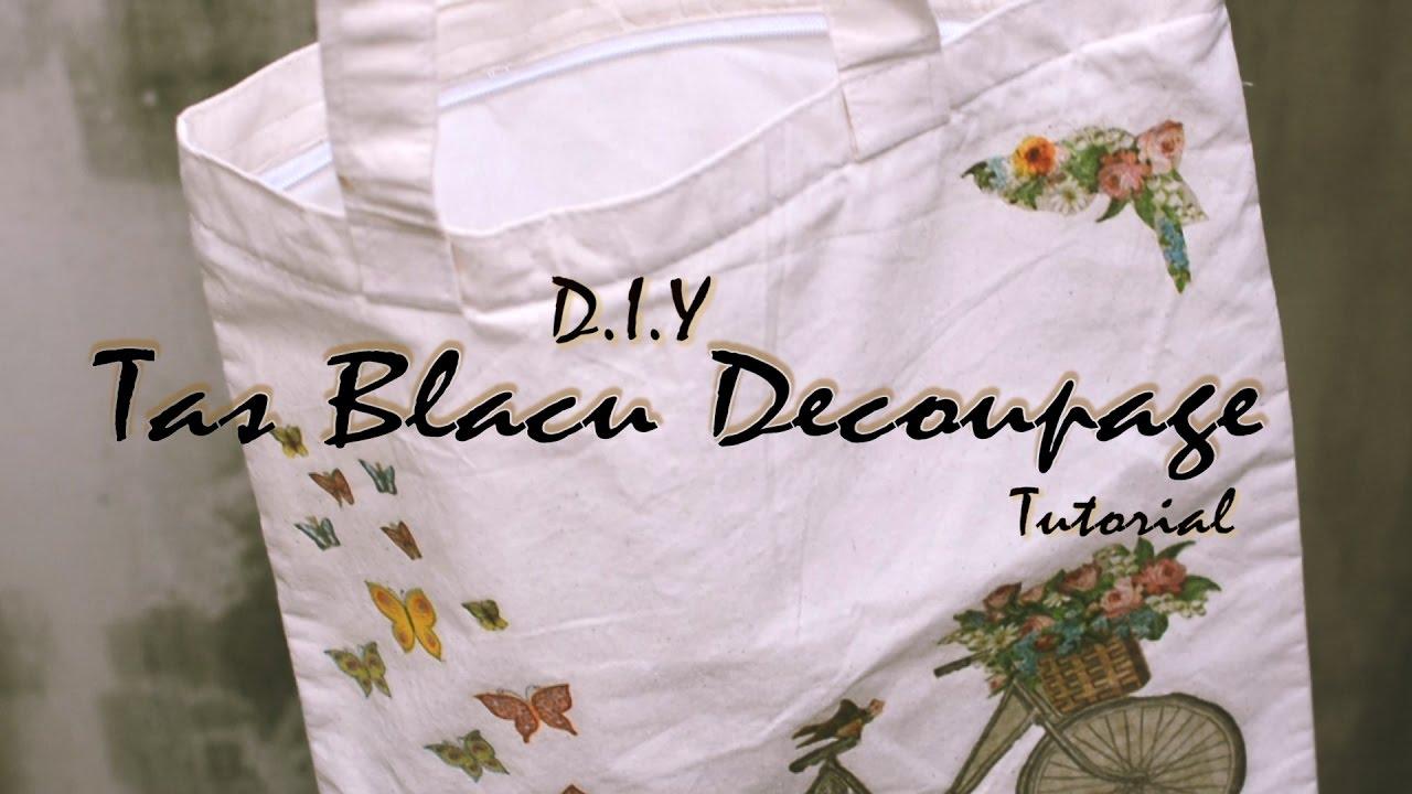 DIY Decoupage Tas Blacu /Totebag / Pouch Tutorial - YouTube