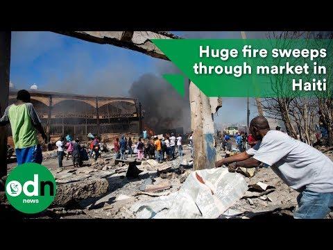 Huge fire sweeps through market in Haiti