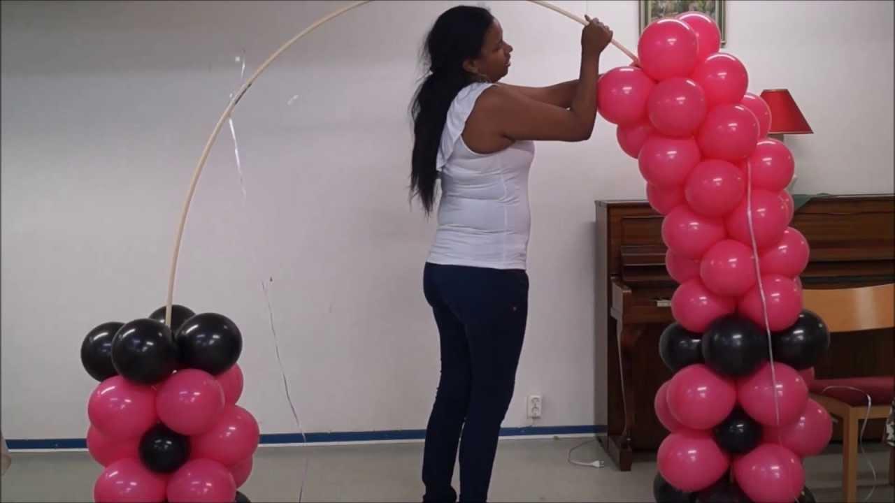 Arco de orejas de minnie mouse con globos como hacerlo - Hacer decoraciones con globos ...