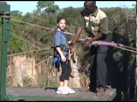 Bungee jumping little girl
