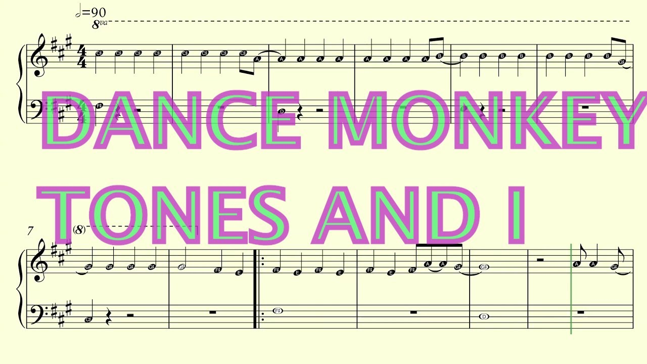 Dance Monkey Easy Piano Sheet Music With Note Names Youtube