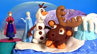 Play Doh Frozen Sparkle Snow Dome Disney Playset With Olaf Sven Elsa Anna Sparkle Playdough