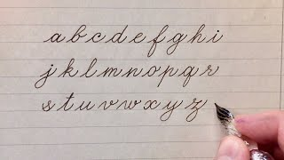 How to practice Cursive handwriting with glass dip pen. Lowercase letters of the Latin alphabet