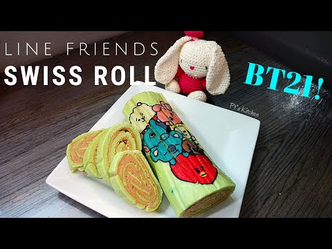 How To Make Swiss Roll Cake Recipe - BT21 characters (BTS)