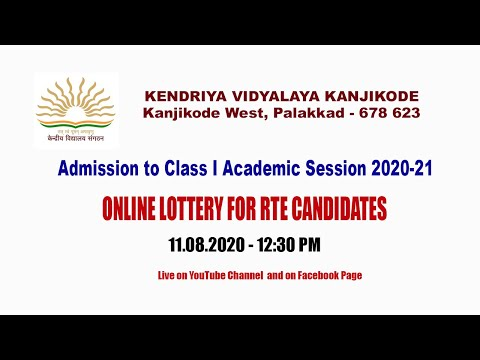 Admission to Class I - Online Lottery for RTE Candidates Live on 11 August 2020 at 12:30 pm