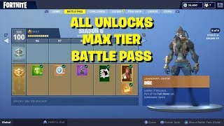 FORTNITE S6 MAX TIER BATTLE PASS ALL UNLOCKS