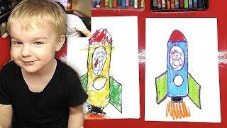 Павлик рисует РАКЕТУ / урок рисования для детей от 3 лет