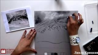 ВИДЕОУРОК рисуем углем горы и пингвинят