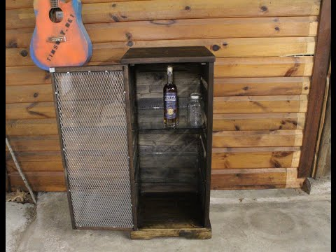 Pallet And Walnut Whiskey Cabinet