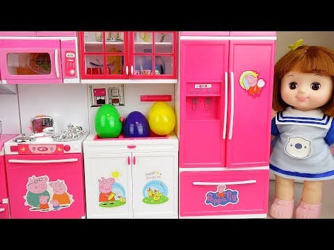 Surprise egg kitchen and baby doll kitchen cooking play