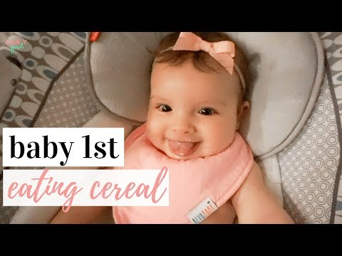 BABY'S FIRST TIME EATING RICE CEREAL ✨ | How to make rice cereal + baby's reaction