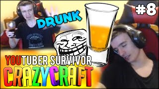 SIMON IS ACTUALLY WASTED DRUNK IN THIS ONE - Minecraft: Youtuber Survivor! #8 (Crazy Craft 3.0)