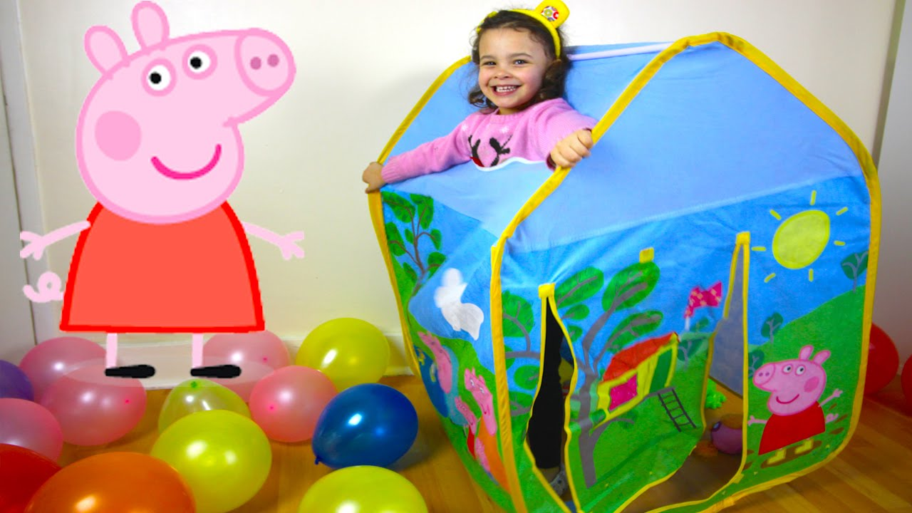 Giant Peppa Pig Kids Toy Tent Surprise with Balloon drop ...