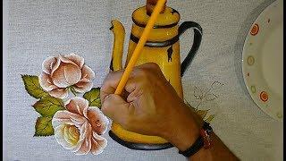 Roberto Ferreira – Aprenda a pintar ROSAS e Folhas – Continuação Bule amarelo- parte 2
