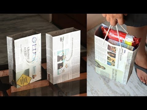 How to Make a Paper Bag with Newspaper - Paper Bag Making Tutorial (Easy)