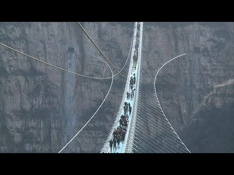 Download Youtube: Chinese glass bridge attracts crowds at opening
