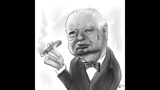 Daily sketch 0075 - How to Draw caricature of Winston Churchill