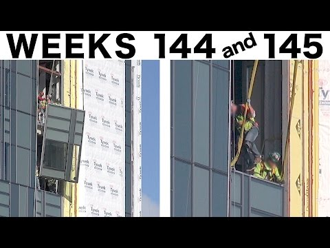Assorted construction time-lapse clips: Weeks 144+145: Curtain wall glass; Tower cranes; more