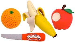 How to Make Play Doh Fruit - Apple Banana Orange - Learn Colors RL