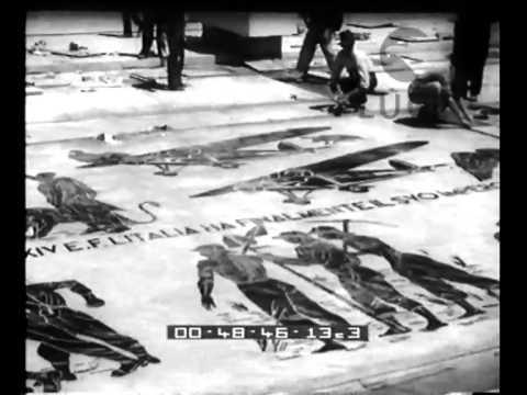Terminata la pavimentazione in mosaici il Duce presenzia all'inaugurazione del Foro Mussolini