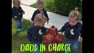 DAD ATTEMPTS TO GET QUADRUPLET DAUGHTERS READY FOR THE DAY