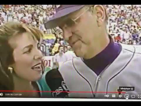 Lesley interviews Skip Bertman after LSU won the College World Series in 1993